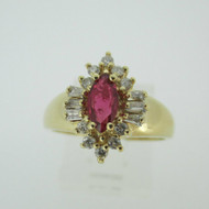 14k Yellow Gold Natural Ruby Ring with 1/3ct TW Diamond Halo Accents Size 6 3/4