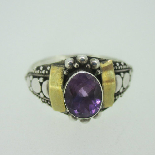 Sterling Silver & Brass Accent Amethyst Ring Size 9.5