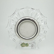 Vintage Waterford Small Round Crystal Tabletop Picture Frame Sunburst Design