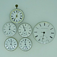 Lot of Five Antique Movements and 18s Dial Parts Steampunk (B7968)
