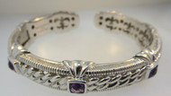 Signed JUDITH RIPKA 925 CZ Cable Hinged Bangle Cuff w/3-Amethyst Accents*