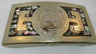 Southwestern Alpaca Mexico Belt Buckle with Pyramid Center Design*