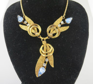 Van Dell Blue & White Rhinestone Gold Filled Necklace