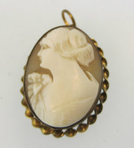 Vintage Gold Filled Conch Shell Cameo Locket Pendant