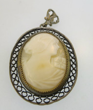 Vintage Gold Filled Conch Shell Cameo Pendant