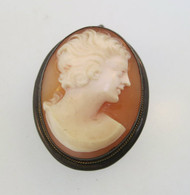 Vintage Mexico & C Gold Filled Conch Shell Cameo Pendant or Brooch