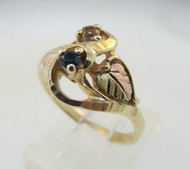 10k Black Hills Gold Mothers Ring with Sapphire and Smoky Topaz Stones Size 7 *