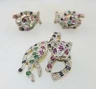 14k White Gold Leopard Pendant and Earrings with Diamonds Sapphires and Ruby Accent*