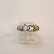 Coleman CCO Sterling Silver Open Heart Linked & 12k Black Hills Gold Heart Accents Ring Size 8