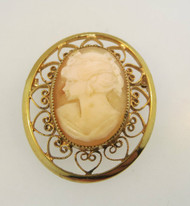Vintage Gold Filled Conch Shell Cameo Brooch with Filigree Heart Accents*