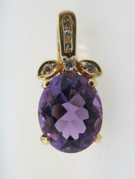 14k Yellow Gold Oval Shaped Amethyst Pendant with Diamonds and Movable Clasp