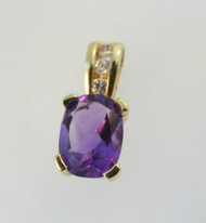 10k Yellow Gold Amethyst Pendant with 3 Diamond Accents