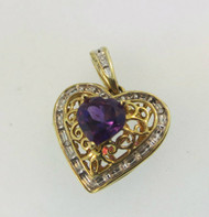 10k Yellow Gold Amethyst Locket Pendant with Diamond and Filigree Accents