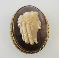 14k Yellow Gold Mother of Pearl and Abalone Cameo Pendant or Brooch