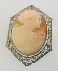 10k White Gold Conch Shell Cameo Brooch or Pendant with Filigree Accents