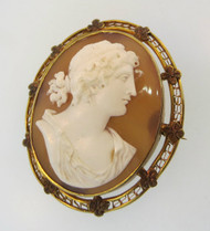 10k Yellow Gold Conch Shell Cameo Brooch or Pendant with Flower and Filigree Accents