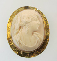 10k Yellow Gold Cameo Brooch
