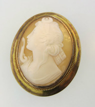 14k Yellow Gold Conch Shell Cameo Brooch or Pendant