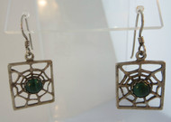 Sterling Silver Cob Web Design Turquoise Dangle Earrings