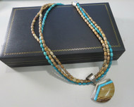 DTR Sterling Silver Green Turquoise Necklace with Brown Stone Pendant in Original Box