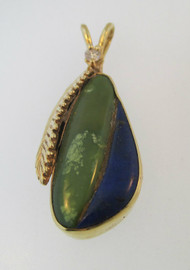 14k Yellow Gold Lapis and Green Turquoise Pendant with Leaf Accent