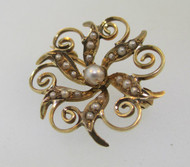 10k Yellow Gold Seed Pearl Brooch