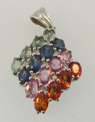10k White Gold Created Colored Sapphire Pendant