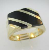 14k Yellow Gold Black Onyx Inlay Ring Size 10 *