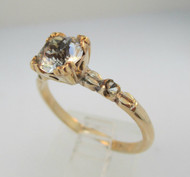 Vintage 10k Yellow Gold Filled Ring with Rhinestone Center Stone Size 8 ¼ *