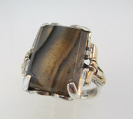 Vintage Sterling Silver and 12k Gold Filled Moss Agate Ring Size 6 ¾ *