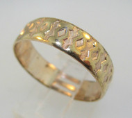 Yellow Gold Tone Textured Band Size 9 ½