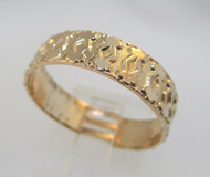 Yellow Gold Tone Textured Band Size 11