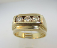 14k Yellow Gold Approx 1.0ct TW Round Brilliant Cut Diamond Ring Size 11