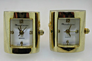 Marcel Drucker Quartz Japan Movement Gold Tone and Stainless Steel Cufflinks (300.3766 CB)