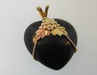 CCO 10k Black Hills Gold Black Onyx Heart Shape Pendant