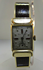 Antique Bulova Watch Co. Watch with White and Red Rhinestones 10k Rolled Gold Plated and Brown Leather Band (300.3813 CB)