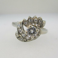 Vintage Bright Cut 14k White Gold Approx .65ct TW Round Brilliant Cut Diamond Ring with Single Cut Diamond Accents Size 8  *