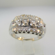 Vintage 1930s Era 14k White Gold Approx 1.0ct TW Round Brilliant Cut Diamond Ring with Single Cut Diamond Accents Size 6 1/4