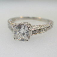 14k White Gold Approx 1.42ct TW Radiant Cut Diamond Ring Size 7