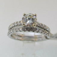 18k White Gold Approx .1.37ct TW Round Brilliant Cut Diamond Ring Size 6 3/4 *