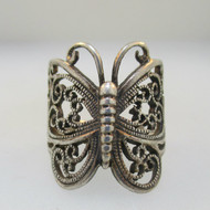 Sterling Silver Large Butterfly Cocktail Ring Size 7
