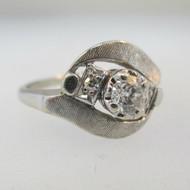 Vintage CA 1960s Era 14k White Gold Approx .49ct TW European Cut Diamond Ring Size 5 *