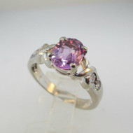 Sterling Silver Oval Cut Amethyst Ring with 4 CZ Accents Size 6 ½