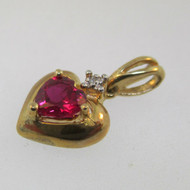 10k Yellow Gold Created Ruby and Diamond Heart Pendant