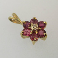 14k Yellow Gold Ruby with Diamond Flower Pendant  *