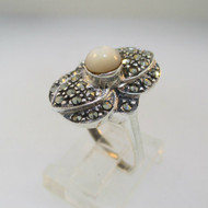 Sterling Silver Mother of Pearl and Marcasite Ring Size 8 ¼