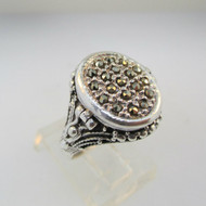 Sterling Silver Marcasite Pill Box Ring or Poison Ring Size 7 ¾
