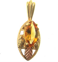 CCo Black Hill Gold 10k Yellow Gold Lemon Citrine & Grape & Leaf Pendant