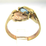 BLACK HILLS GOLD C CO 10k RING WITH MARQUISE CUT BLUE TOPAZ SZ 6.75