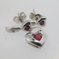 14k White Gold Ruby Heart Pendant with Ruby and Diamond Earring Set *
